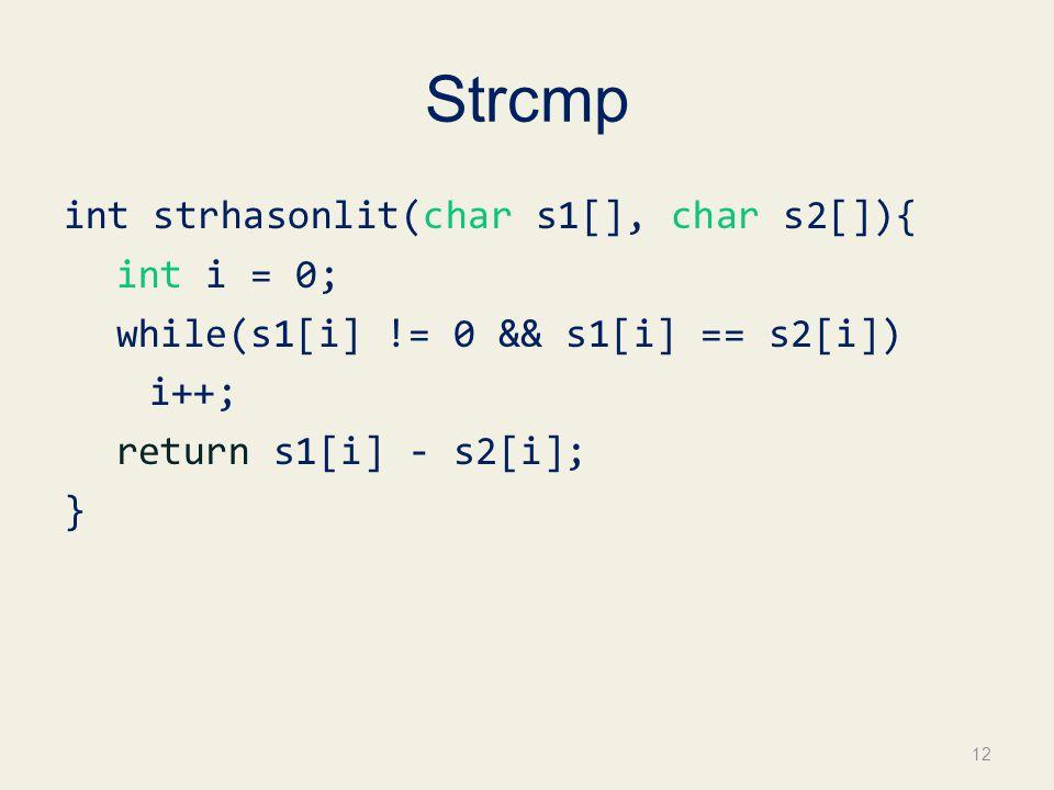 Strcmp int strhasonlit(char s1[], char s2[]){ int i = 0; while(s1[i] != 0 && s1[i] == s2[i]) i++; return s1[i] - s2[i]; }
